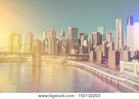 Skyline of downtown New York, Manhattan at the morning light  - vintage style, New York City, USA
