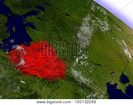 Poland From Space Highlighted In Red