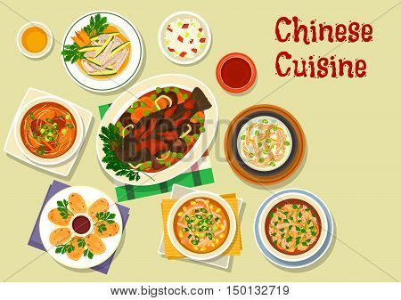 Chinese cuisine oriental dishes icon with sticky rice, sweet and sour chicken soup, corn soup, squid ring, anise beef soup, baked fish with vegetables and sweet sauce, spicy rice soup