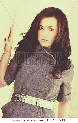 Beautiful brunette fashion model woman
