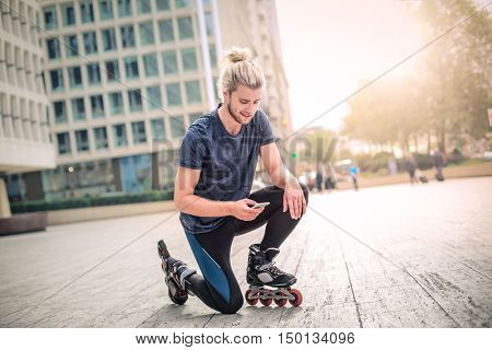 Skater using his phone
