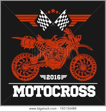 Motocross Tournament emblem for t-shirts on dark background
