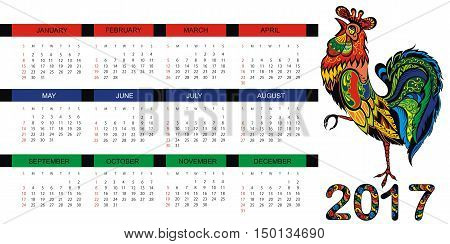 Calendar for 2017 year with fairy rooster
