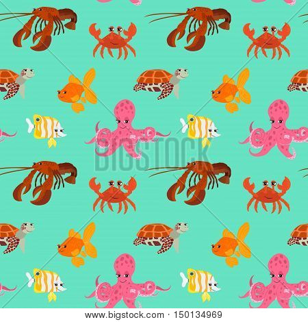 Seamless pattern with cartoon animals. Funny endless background with crab gold fish octopus squid and turtle. Vector illustration.