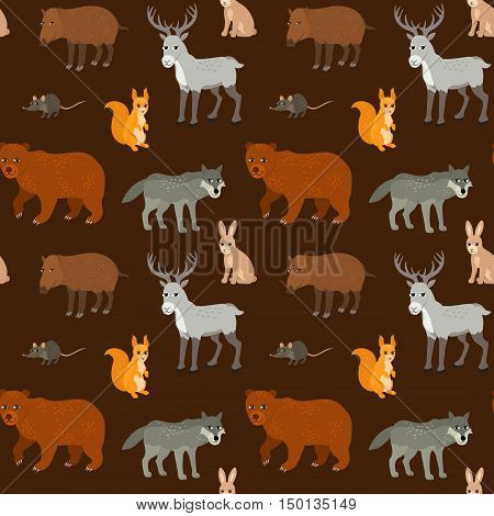 Seamless pattern with cartoon animals. Forest endless background with bear squirrel wolf deer wild boar and mouse. Vector illustration.