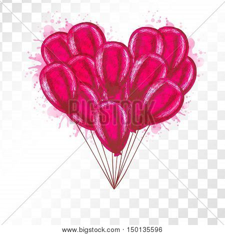 Balloons on transparent background. Vector sketch for greeting cards heart shaped. Red bunch of balloons isolated. Doodle hand drawn design. Retro vintage style. Watercolor spots.