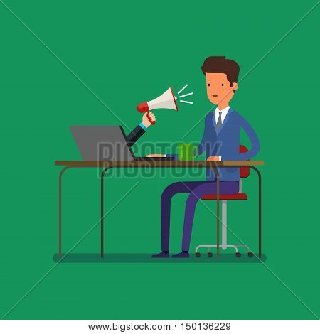 Web advertising and spam concept with cartoon businessman and megaphone. Flat design, vector illustration.