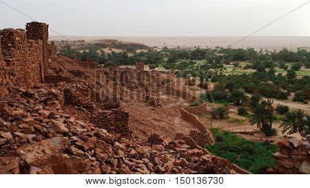 Ruins of Ouadane fortress in Sahara Mauritania