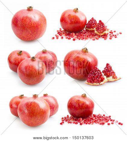 Set Ripe Pomegranate Fruit Isolated On White Background Cutout