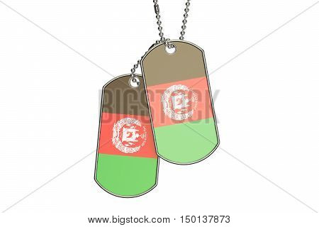 Afghanistan Dog Tags 3D rendering isolated on white background