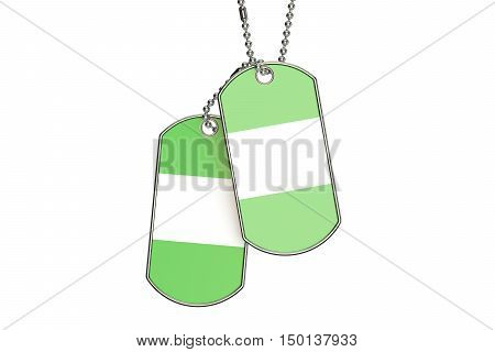 Nigeria Dog Tags 3D rendering isolated on white background