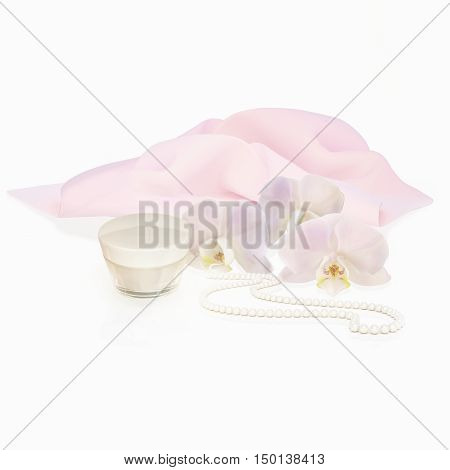 White orchid flowers string of pearls and jar of moisturizing face cream for spa treatment. 3D illustration