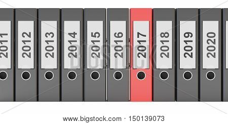 ring binders 2017 New Year concept 3D rendering isolated on white background