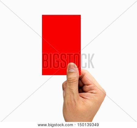 hand of arbiter showing red card on white background