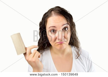 portrait of sad woman that finished toilet paper roll