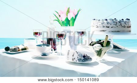 Afternoon tea and delicious dessert on sea background. 3D illustration