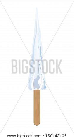 Icicle on wooden stick. Illustration of cold icicle on wooden stick as a sweet ice cream isolated on white background.