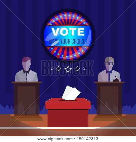 Digital vector usa election with vote box, candidate tribune and make your choise, flat style