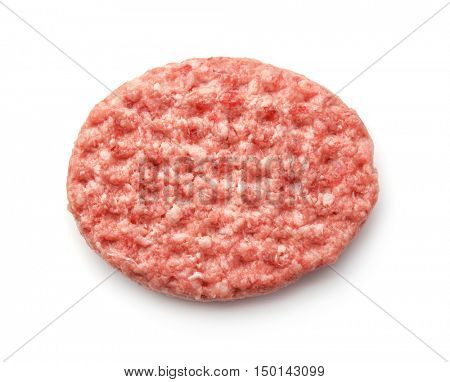 Top view of fresh raw burger patty isolated on white