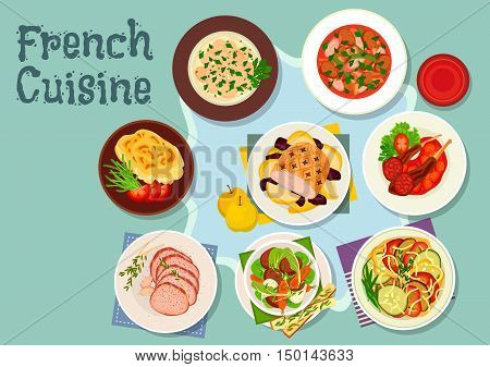 French cuisine icon with vegetable stew ratatouille, lamb ribs, potato cheese casserole, lamb stew with bacon, chateaubriand steak, beef stew, baked pork with fruits, beef kidneys fricassee