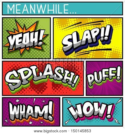 Collection of Comic Book on Various Halftone Background