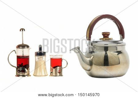 French press with tea isolated on white