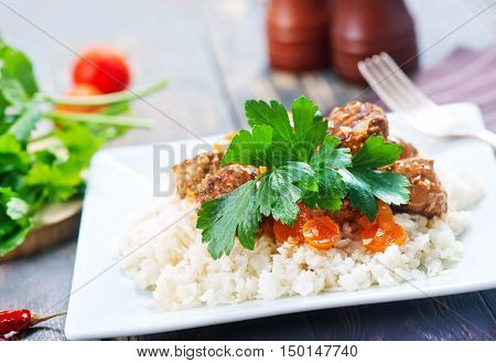 Boiled Rice With Sauce