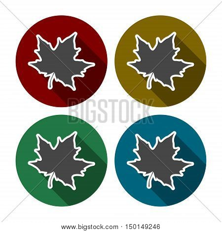 Vector Maple Leaf Icon set with long shadow