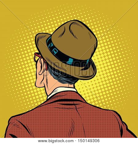 Male viewer stands back, pop art vector illustration. Man in retro suit