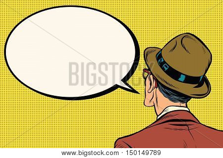 Retro man stands and says the comic bubble, pop art vector illustration