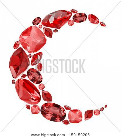 crescent shape symbol from red ruby gems isolated on white background