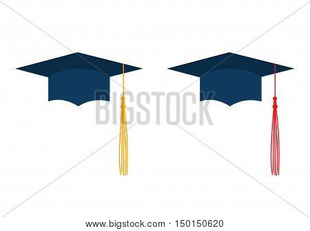 Dark blue graduation caps with red and yellow liripipe isolated on white background. Vector illustration. Education celebration symbol. Flat design. Square academic hat brush. Corner-cap bonnet.