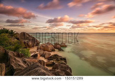 Beautiful Seychelles tropical beach Anse Source D Argent at La Digue island in sunset