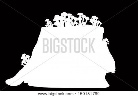 illustration with mushrooms and stub silhouettes isolated on black background