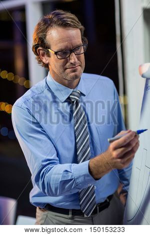Attentive businessman writing on whiteboard in office at night