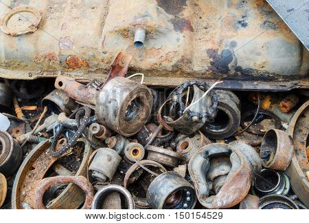 Useless worn out old rusty bearings and other parts