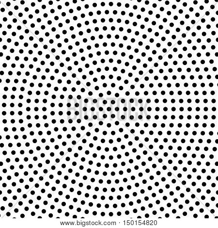 Abstract dotted background in circlular arrangement. Simple vector background pattern of black dots on white background.