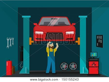 Car garage vector illustration, man mechanic standing and repairing car, technician repairman working on lifted auto, concept of repair service garage flat cartoon style