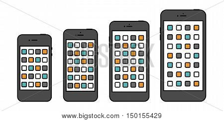 smartphone icon set in the style thin line flat design isolated on white background. stock vector illustration eps10