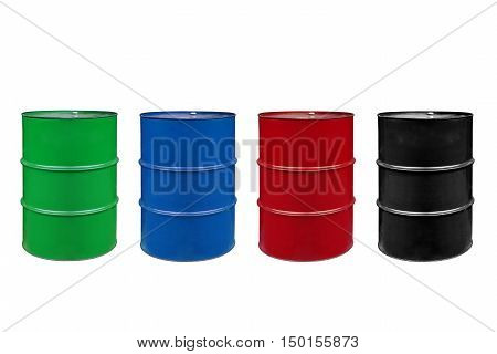 metal barrels of colors color on a white background