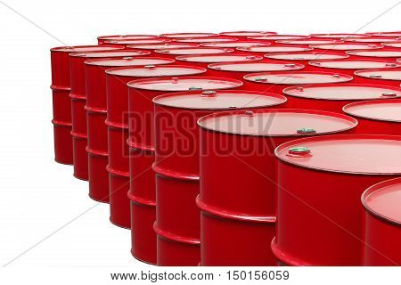 metal barrels of red color on a white background
