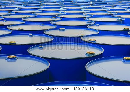 barrels of blue color on a white background