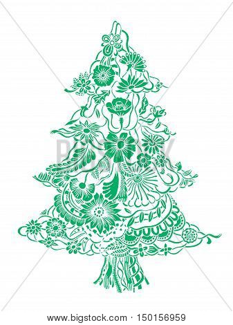 Christmas Tree of beautiful painted flowers. Floral fir-tree, hand drawn zentangle. Vector illustration. Use for cards, invitation, wallpapers, pattern fills, web pages elements and etc.