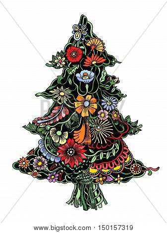 Christmas Tree of beautiful painted flowers. Floral fir-tree, hand drawn zentangle. Colored Vector illustration. Use for cards, invitation, wallpapers, pattern fills, web pages elements and etc.