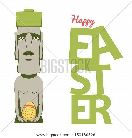 Happy Easter design template of easter island