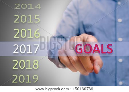 Man hand pointing Goals text Body man businessman planing goals for 2017. Business new year goals and targets concept.