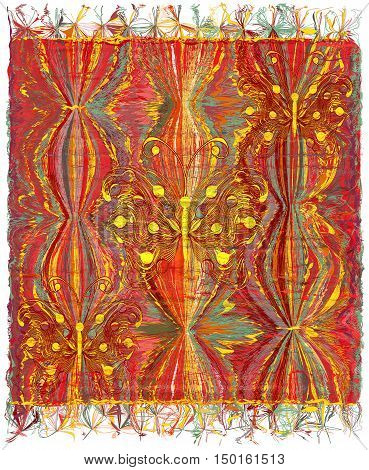 Vertical weave tapestry with striped wavy colorful pattern applique of abstract golden butterflies and fringe