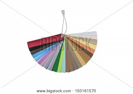 multicolored Venetian blinds color chart-instrument for designer, isolated on white