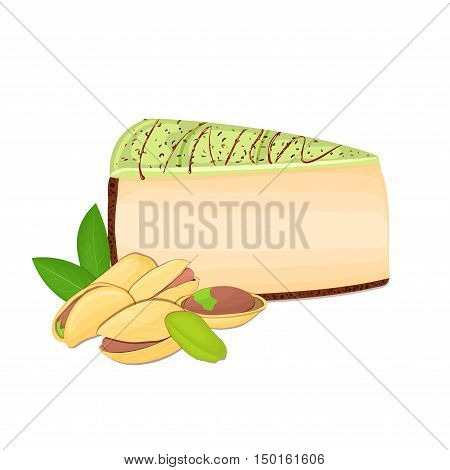 Piece of cheesecake with pistachio nuts. Vector sliced portion of cheescake cake with creamy pistacia layer, decorated with chocolate shortcake on white background for menu design coffee confectionery