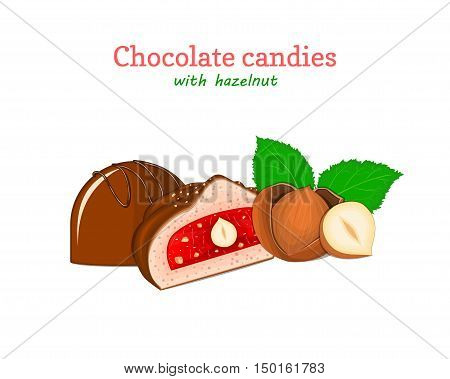 Vector chocolate candies illustration. Set of two chocolates a whole and slice with strawberry jelly hazelnuts. Delicious sweets for menu design, cards, candy packaging